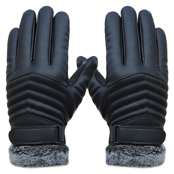 Anti Slip Men Thermal Winter Sports Leather Touch Screen Gloves