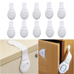10pcs/lot Kids Safety Locks Cabinet Door Drawers Refrigerator Locks Children Safety Protection Plastic Security Locks Straps