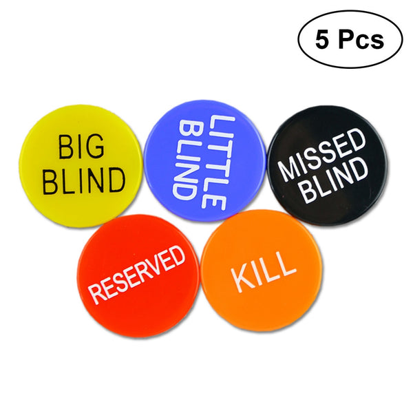 5pcs Little Blind, Big Blind, Missed Bling, Kill, Reserved Poker Buttons Poker Buck Chips Game for Poker Gambling Card Games