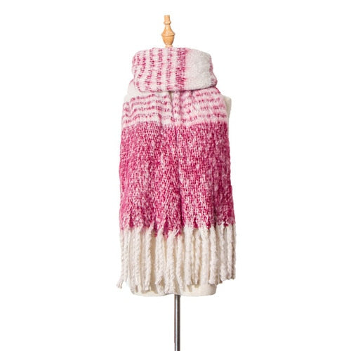 Autumn and winter British style Stitching color tassel New hot women's  elegant generous simple temperament elegant scarf travel