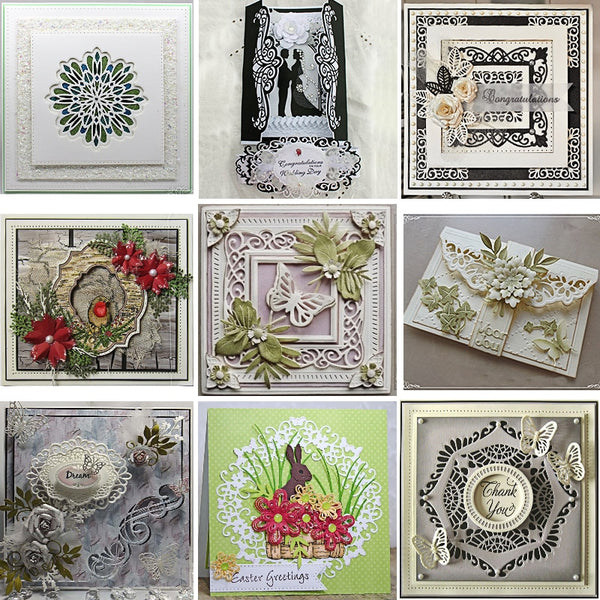 Multi Lace Border dies Scrapbooking Metal Cutting Dies New 2018 Rectangle Square Frame Flower Craft Dies Cut For Cards Making