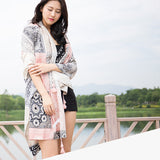 Celebrity style pink print simple fashion lady scarf shawl silk fabric charming texture high-grade temperament