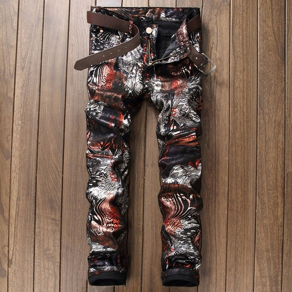 Camouflage Printed Skinny Biker Jeans Men Stretch Hip Hop Slim Mens Denim Jeans Casual Street Fashion Jogger Pants Male Trousers