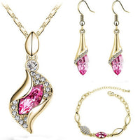 MISANANRYNE Top Quality Elegant luxury design new fashion colorful Austrian crystal drop Gold Chain jewelry sets women gift