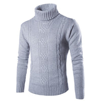 Stylish Men's Sweaters Pullover Muscle Tee Slim Fit High Neck Knitted SweatersMasculino Tops Solid Autumn Winter Men Clothes
