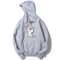 Fashion Cute Cat Print Men's Hoodies Tracksuit Hipster Drawstring Front Pockets Long Sleeve Sweatshirt Male Casual Cotton Coats