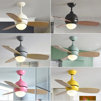 36 Inch Nordic Multicolour Lovely Bedroom Led Ceiling Fan Light Concise Kitchen Dining Room Fan Light Art Kid's room  Bar Light