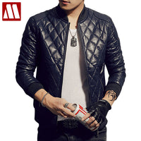 2018 Men's New Arrival PU Leather Jacket Slim Stand Collar Autumn & Winter Plus Velvet Jackets Fashion Leather Coat For Male