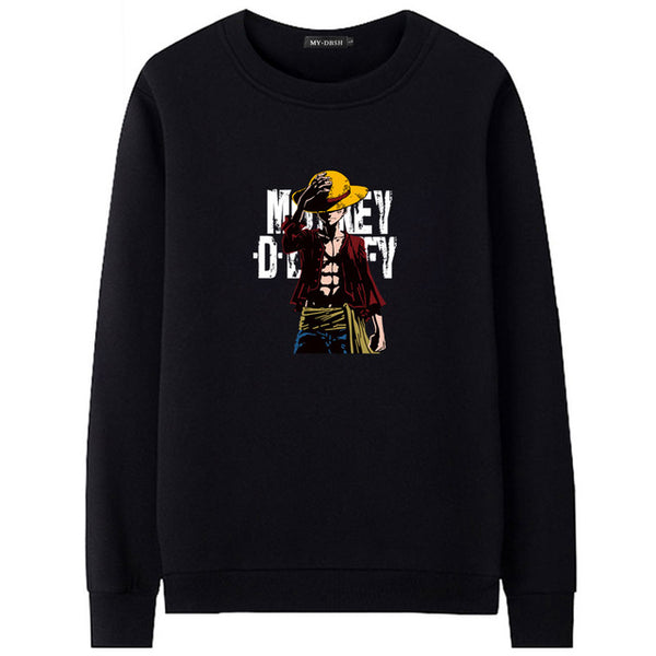 Fashion New Style Unicorn One Piece Luffy Hoodies Casual Long Sleeve Hood Streetwear Hip Hop Man Pullover Winter Keep Warm Hoody