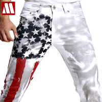Flag Men Jeans 2018 New Arrival Slim Fit Trousers High Quality Striped Star Pattern Plus Size 28-48 Denim Straight Skinny Jeans