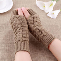 Women Soft Knitting Gloves Winter Warmer Twist Long Fingerless Knit Mitten Practical Casual Gloves 1 Pair YRD