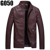 Causal PU Leather Jackets Man Long Sleeve Winter Thick Pocket Bomber Coats Leather Outerwear Men's Zipper Jacket Brand Clothing