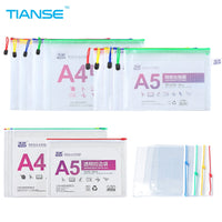 TIANSE A4 A5 zipper file bag 20pieces business organizer folder office supplies storage bag transparent PVC plastic document bag