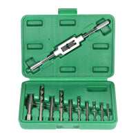 11pcs Thread Metric Machine Hand Screw Adjustable Plug Taps Set with Tap Wrench 1/16''-1/2''