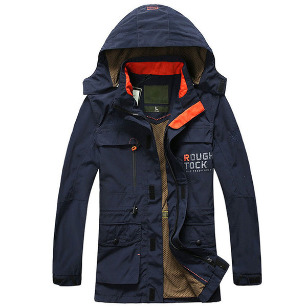 2018 Sping Autumn Men multi-pocket Jackets Windproof Coat Men Tourism Mountain Hooded Jackets Men's Fashion Coats Male Plus Size