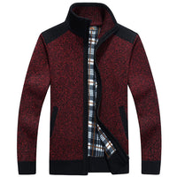 Autumn Winter The New Hiker Cardigan Sweaters Men Thicken Knitwear cheap Stand Collar Wool Velvet Inside 4 Colors Warm Clothing