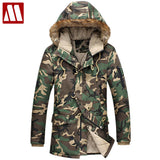 Fashion camouflage parka men military medium-long Men's Clothing thickening cotton-padded winter jacket men with fur a hood F015