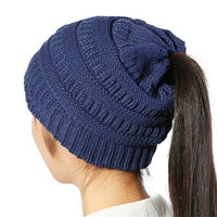 Xthree New keep warm Ponytail beanies knitted hat winter hat for women cheap girl 's hat Cotton cap new thick female cap