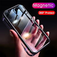 Magneto Magnetic Adsorption case for iphone 7 luxury metal bumper magnet tempered glass cover for iphone x 6 6s 7 8 plus case
