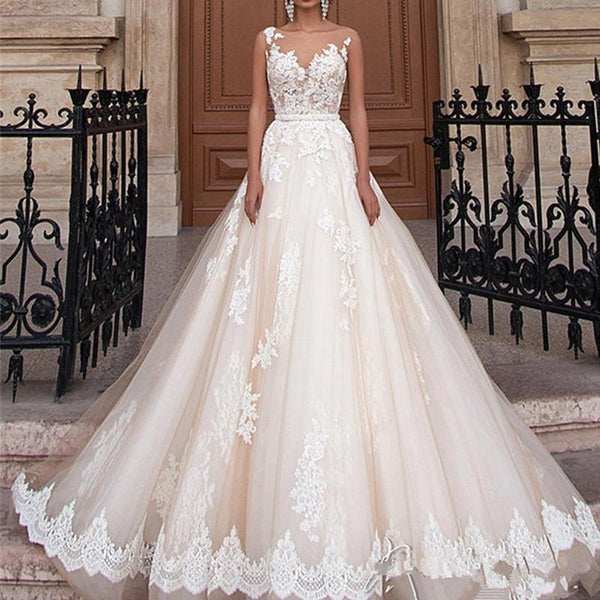 Plus Size Sexy Women Lace Floral A Line Wedding Dress Elegant Backless Bridal Grown