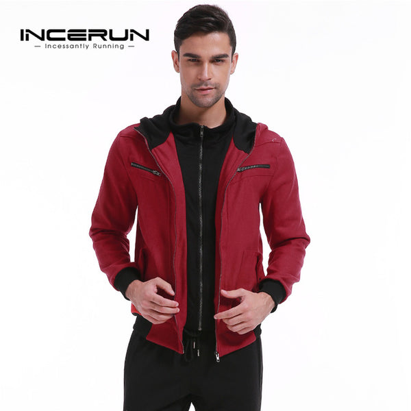 INCERUN Men's Thick Fleece Hoodies Sweatshirt Warm Winter Hooded Zipper Mens Sweats Coat Men Casual Sweatshirts Zip Up Hombre