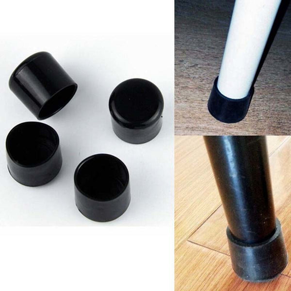 4PCS 22mm Furniture Legs Rubber Black Silica Plastic Rubber Floor Protectors Furniture Table Chair Leg Socks Caps