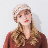 Xthree fashion solid winter women's hat Lace and cotton octagonal hat with visor newsboys hat for girl women autumn wool cap