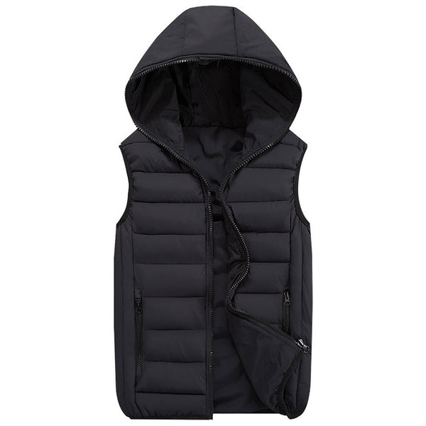 Autum Winter Hooded Vest Men Outerwear & Coats Lovers Couple Waistcoats Men's Casual Vests Sleeveless Anorak Big Plus Size 4XL