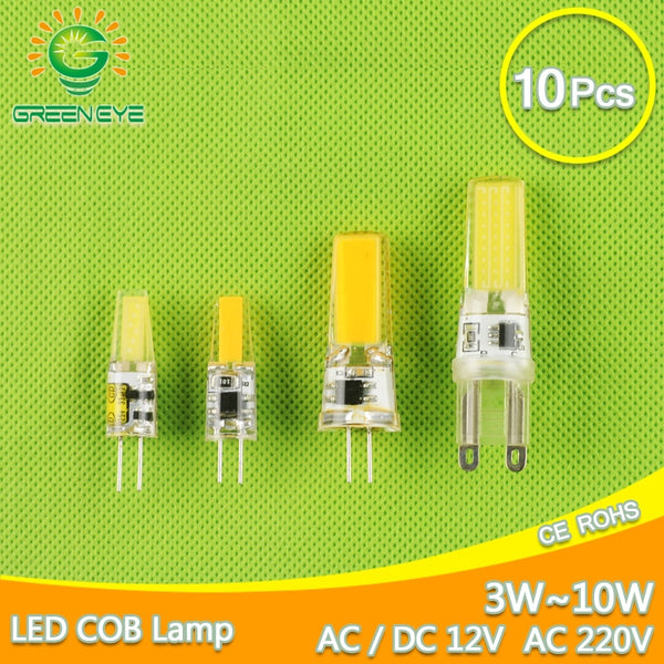 10pcs LED G4 G9 Lamp Bulb AC DC Dimmable cob led 12V 220V 3W 6W 10w COB SMD LED Lighting replace Halogen Spotlight Chandelier