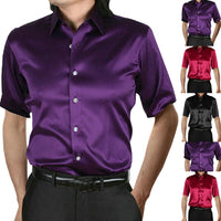 Fashion Men's Summer Casual  Shirts Short Sleeve Fit Party Shirt Top Blouse