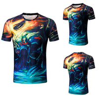 Mens Fashion 3D Printing Shirt Short Sleeve T-Shirt Blouse Tops