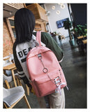 2018 Japan Backpack Fashion Women Backpack Ribbons Hanging Chain Ring Teenage Girls Backpack Female Daily Mochila Bagpack Bag