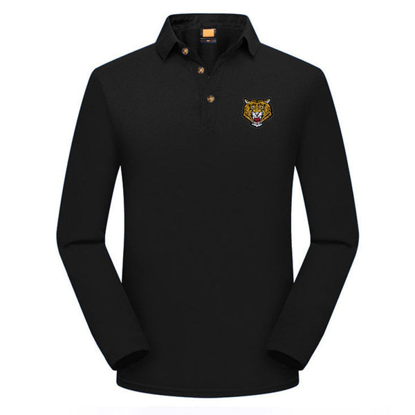 Fashion Men's Casual Slim Long Sleeve Embroidery T Shirt Polo Shirt  Top Blouse