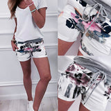 Fashion Womens Casual Floral Print High Waist Bandage Pants Drawstring Shorts