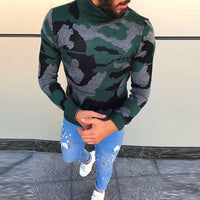 2018 British Men's Sweaters Pullover Muscle Tee Camo Military Floral High Neck Winter Knitted Sweaters Casual Tops Masculino