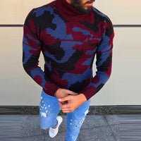Fashion Men's Sweaters Pullover Muscle Tee Camo Military Turtleneck Knitted Sweaters Masculino Hombre Men Clothes Autumn Winter