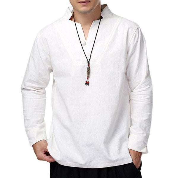 Chinese Mens Shirts Dress Cotton Linen Loose Autumn Long Sleeve Shirts V-Neck Button White Shirt Men Tops Men Clothes Hombre