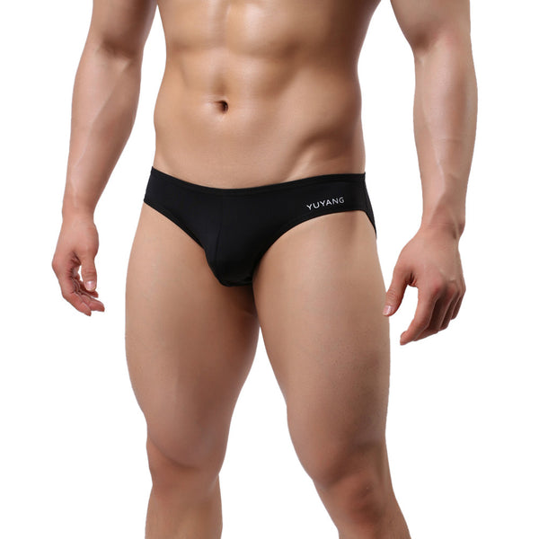 Men Sexy Briefs Bikini Underwear Low Waist Underwears Solid Male Underpants (Black)