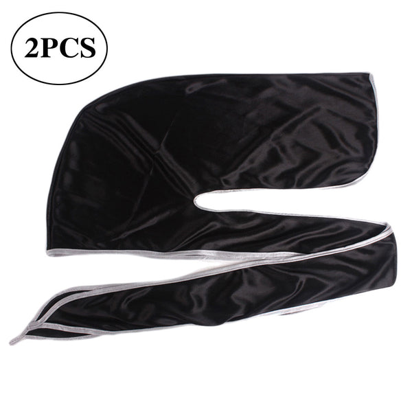 2PCS Silky Hair Loss Chemo Beanie Durag Turban Hat Long Tail Pirate Headwear (Black, White Edge)