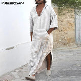 Arab Clothes Man Robe Kaftan Long Dress Full Length Robe White Stripe Islamic Arabe Bathrobe Lounge Gown Masculino Saudi Arabia