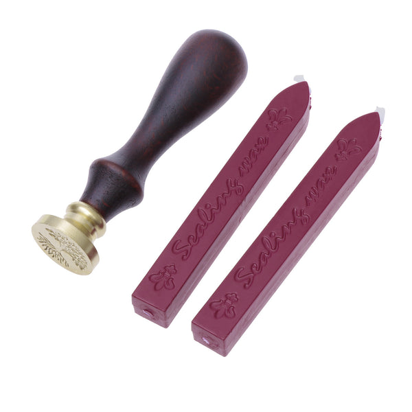 2pcs Wine Red Manuscript Sealing Seal Wax Sticks Wicks For Envelop Postage Letter with One Seal Stamp