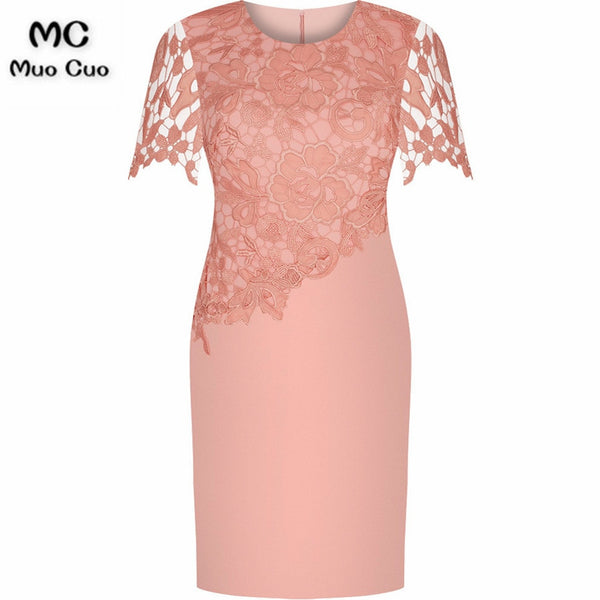 2018 Sheath Coral Mother of the Bride Dresses with Appliques O-Neck Short Sleeves Mother of the bride dresses for weddings