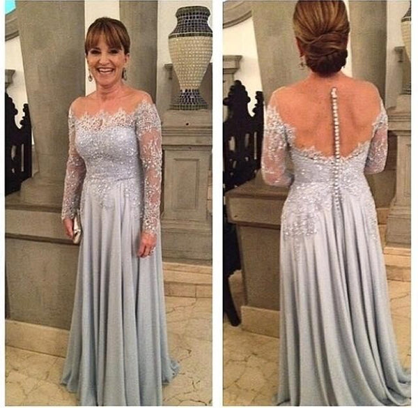 a35fd047868 Hot Sale Silver A line Mother of the bride Mother Dresses Long Sleeves  Appliques Lace Beaded