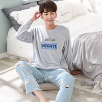 2018 Men Pajama Set Nightwear Autumn Winter Warm Flannel Sleepwear Sets Long Pant Pyjamas Sets Long-sleeve Male Pajamas Men Wear