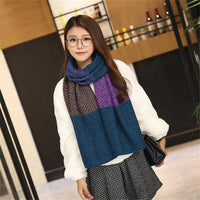 Autumn and winter British style Stitching color the new hot women's elegant generous simple temperament noble elegant scarf