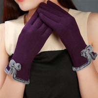 New Arrival Winter Women's Thick Touch Screen Bow Gloves Fashion Female Ladies Girls Mittens Gloves