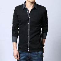 New Autumn Fashion Brand Men Casual Thin knitwear Shirt Collar Slim Fit Knitting Shirts Sweater And Pullover Men Plus size S-5XL