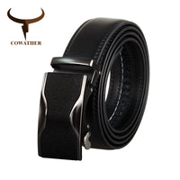 COWATHER Men Belt Top Quality Cow Genuine Leather Belt For Men Luxury Male Strap Alloy Buckle Cowhide Male Waistband New CZ128