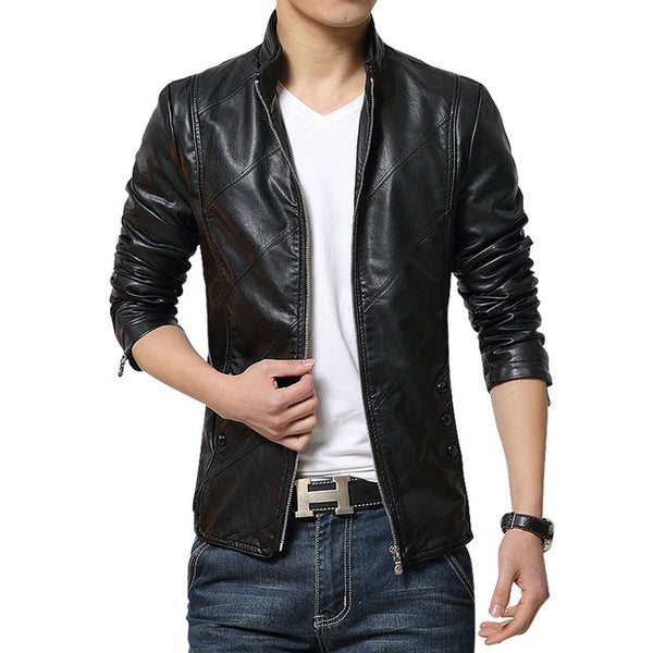 2018 brand-clothing Autumn slim fit Men's leather jacket and coat faux PU leather biker jackets male fur coats motorcycle jacket