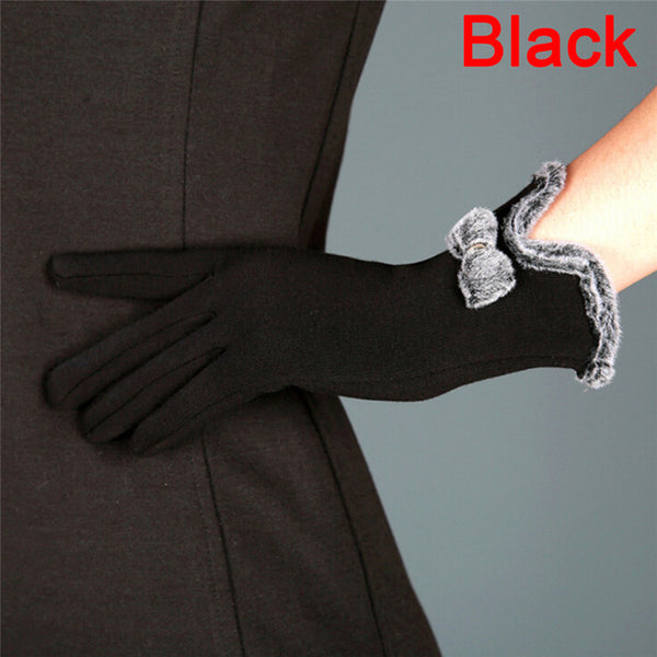 5 Colors Fashion Women's Thick Touch Screen Bow Winter Gloves Women Female Ladies Girls Mittens Glove Mitten